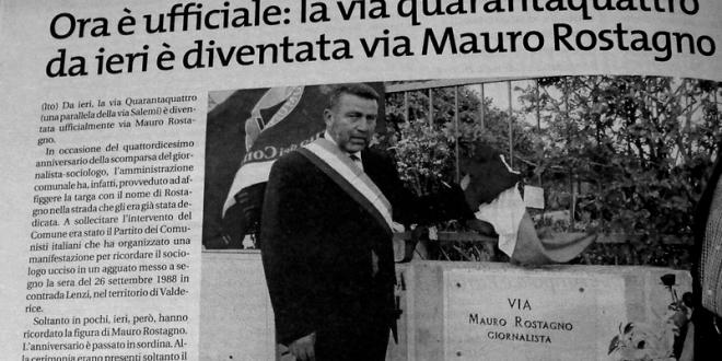 La via 44 da ieri è diventata via Mauro Rostagno