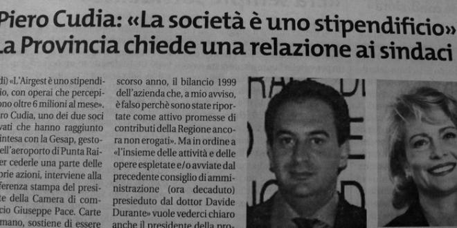 Airgest, Piero Cudia: La società è uno stipendificio