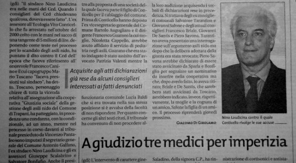 Scandolo Asili Nido: Nino Laudicina in mano al CCD