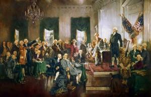 Scena della firma della Costituzione degli Stati Uniti, dipinto di Howard Chandler Christy.