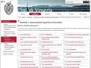 Citta di Venezia - associazioni sportive