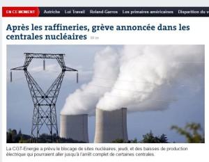 Le Monde Sciopero centrali Nucleari