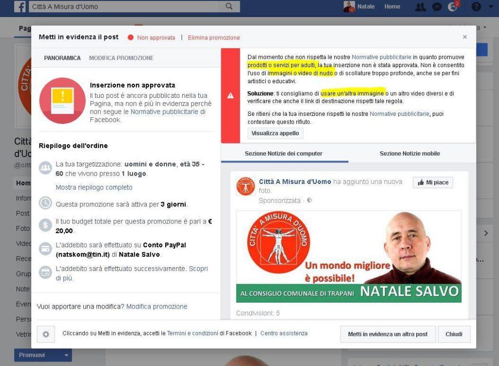 Post Facebook Censurato