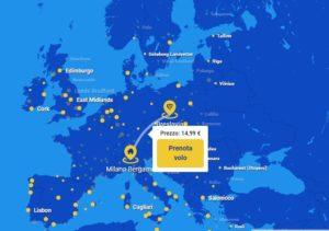 Immagine mappa delle rotte Ryanair da Bergamo
