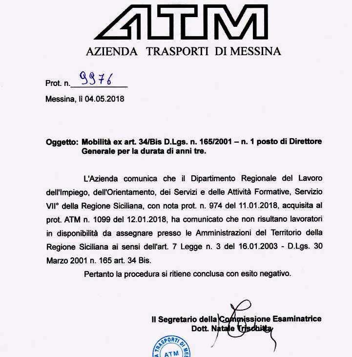 ATM Messina - Esito negativo mobilità