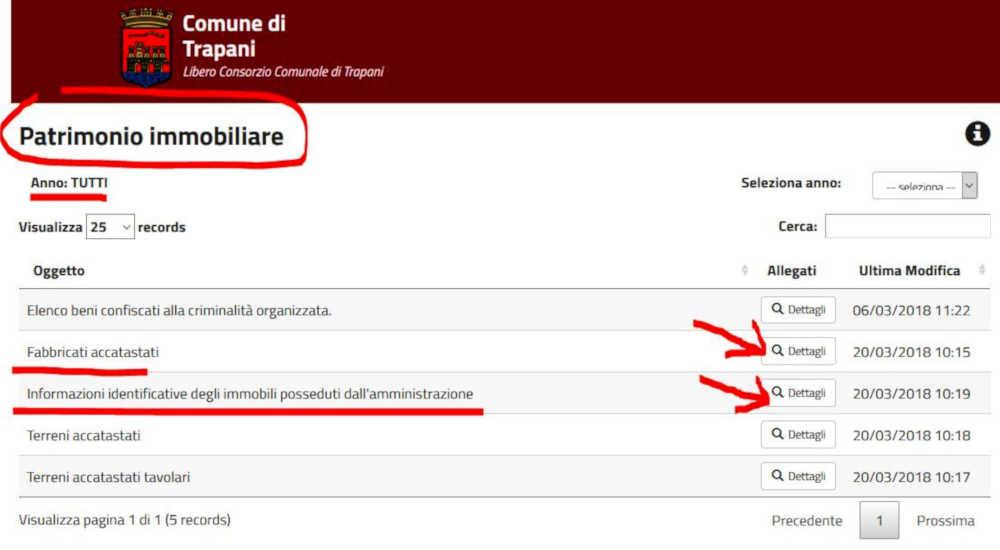 """Pagina """"Patrimonio Immobiliare"""" del sito intrenet del Comune di Trapani."""
