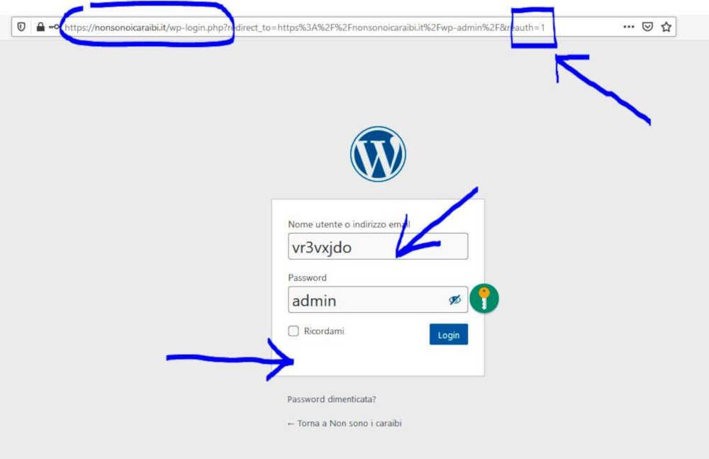 pagina di login del sito Nonsonoicaraibi.it