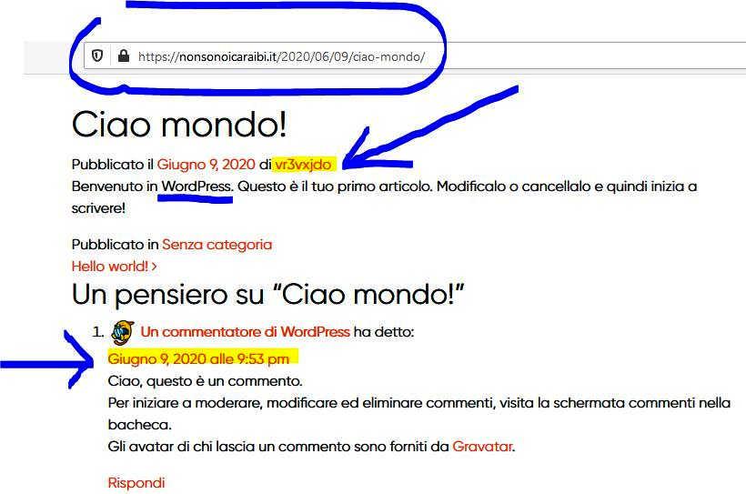 """articolo """"Hello World"""" (Ciao Mondo) sul sito Nonsonoicaraibi.it"""