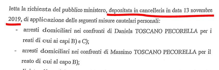 richiesta arresto Toscano